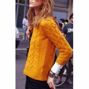 J. Crew Cable Knit Mustard Yellow Sweater